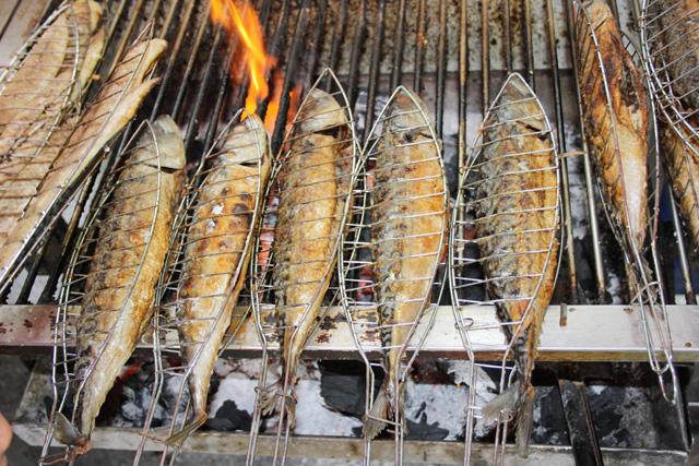 Makrelen auf Feuer